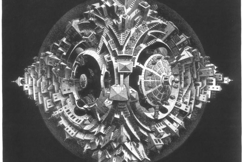 Maurits Cornelis Escher. Tetrahedral planetoid