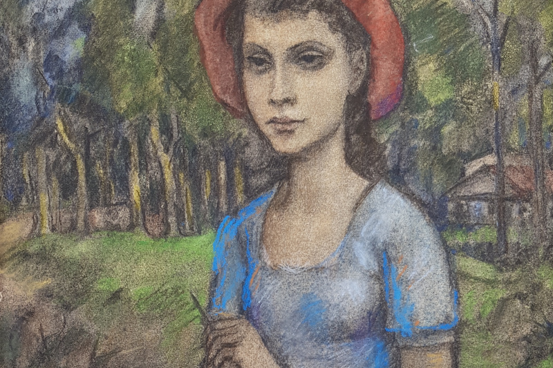 Nikolay Mikhailovich Lapitsky. Girl with notepad