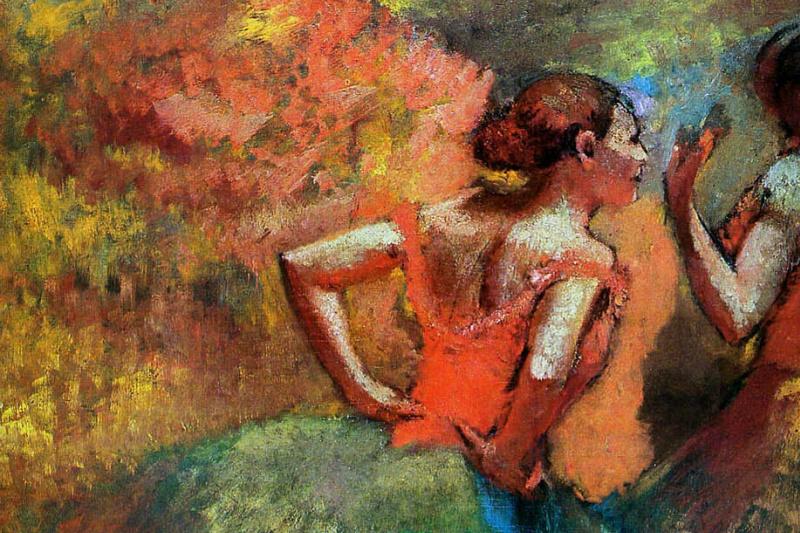 Edgar Degas. Two dancers in green skirts