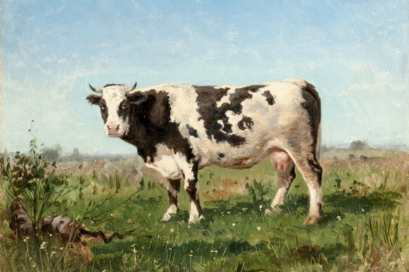 Vladimir Egorovich Makovsky. Cow in the meadow