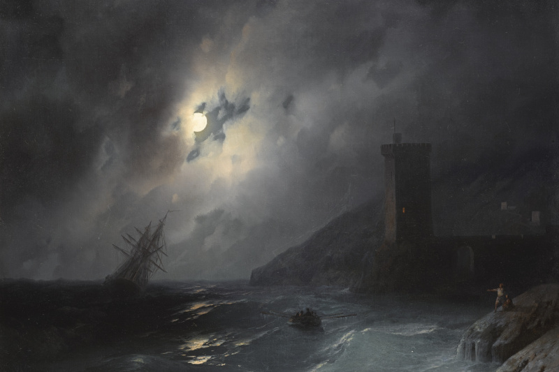 Ivan Aivazovsky. Beach in the moonlight