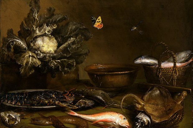 Otto Marceus van Scriec. Still life with fish and cauliflower