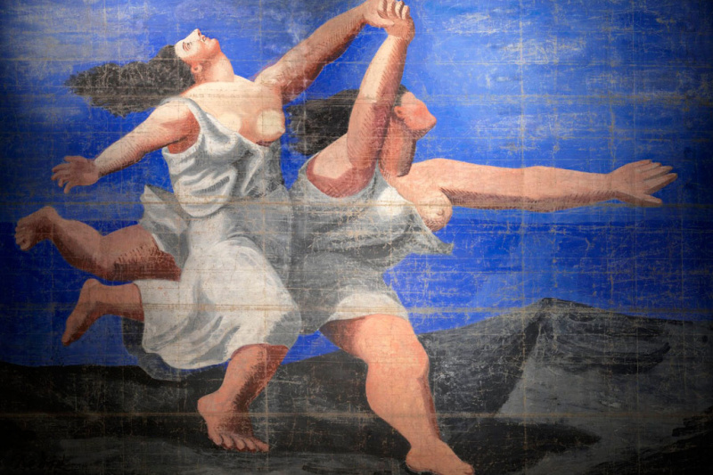 """Pablo Picasso. Two women running on the beach (Curtain for the ballet """"Blue Express"""")"""