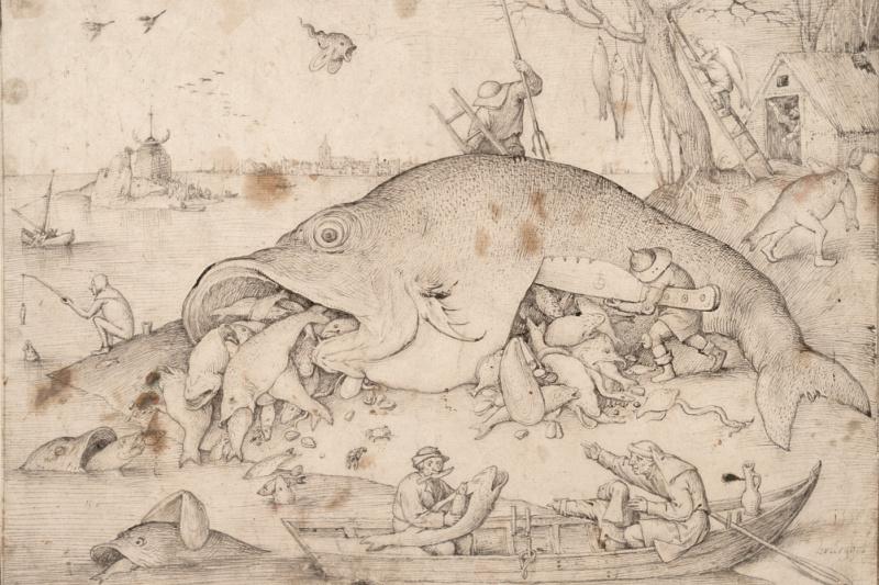 Pieter Bruegel The Elder. Big fish eat small fish