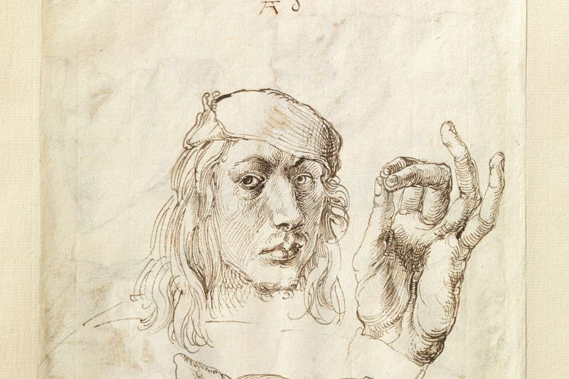 Albrecht Durer. Self-portrait with a sketch of the arms and cushion (front side of sheet)