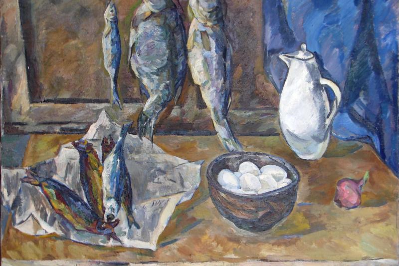 Valentina Ivanovna Rakhina. Still life with fish and eggs