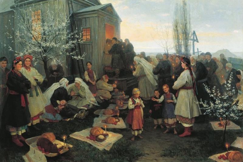 Nikolay Kornilevich Pimonenko. Easter Matins in the Ukraine