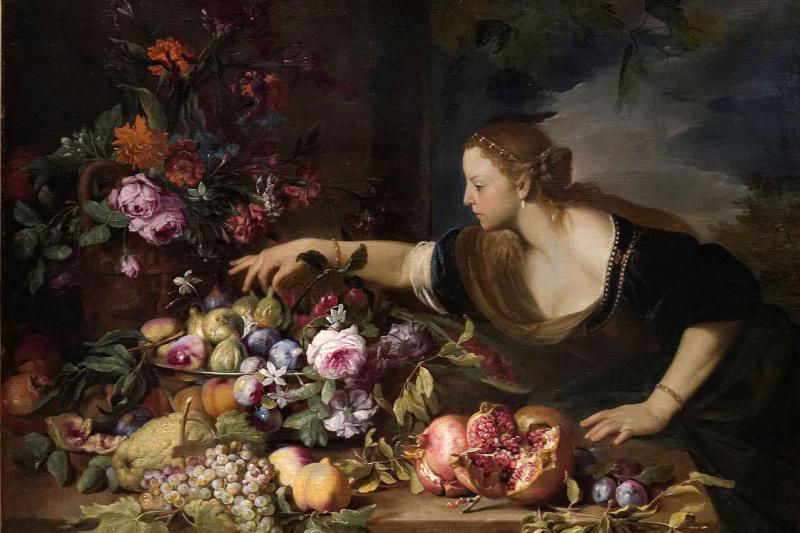 Abraham Brueghel. Woman Grasping Fruits