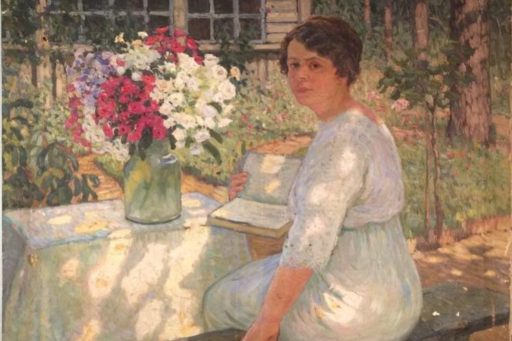 Boris Vasilyevich Smirnov. Portrait of a girl in the summer garden