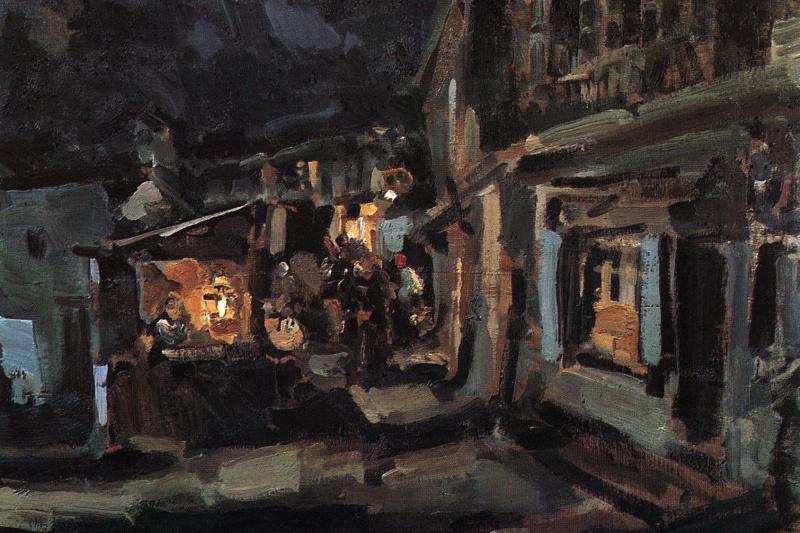 Konstantin Korovin. Tatar street in Yalta. Night
