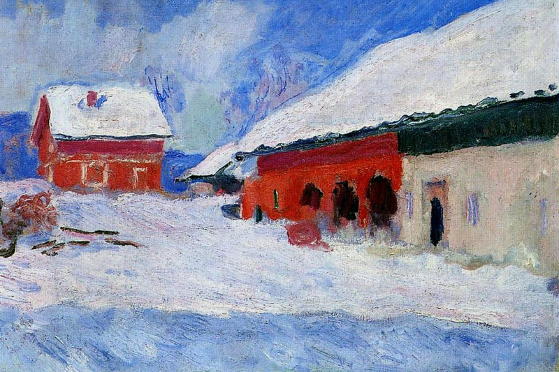 Claude Monet. Borregaard red house in the snow. Norway