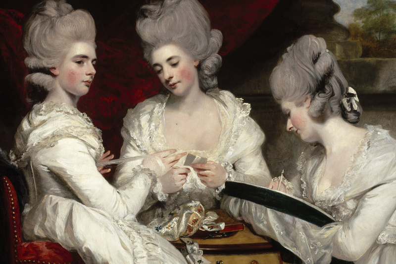 Joshua Reynolds. Lady Waldgrave at the table. Fragment