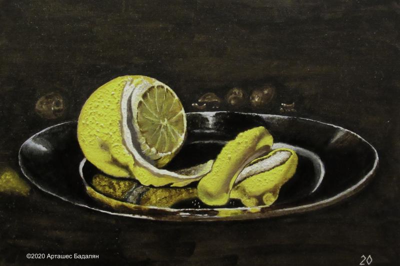 Artashes Vladimirovich Badalyan. Kheda. Still life with silver utensils and oysters (detail) - x-hardboard-m - 30x40