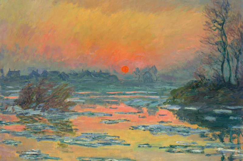 Claude Monet. Sunset on the Seine in winter