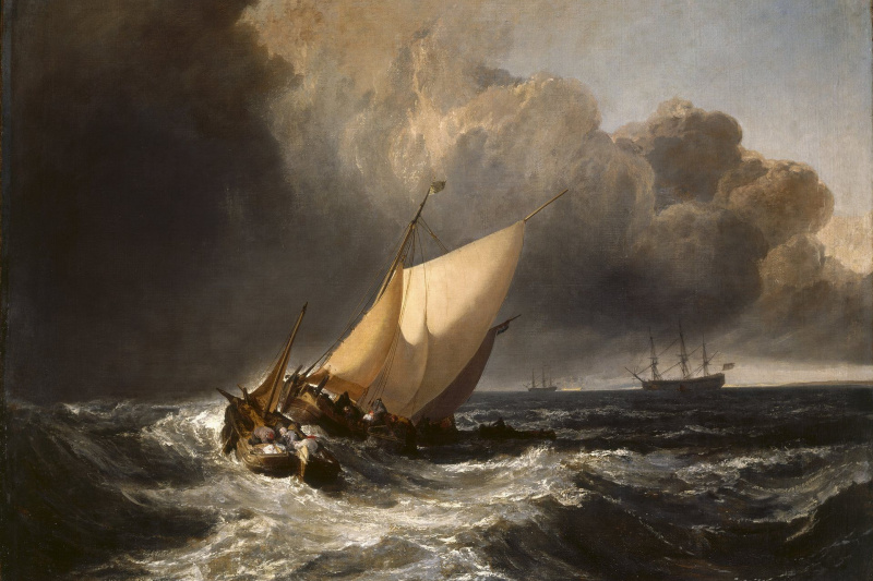 Joseph Mallord William Turner. Dutch fishing boats in a storm