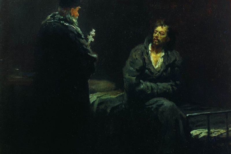 Ilya Efimovich Repin. Refusal of confession before execution