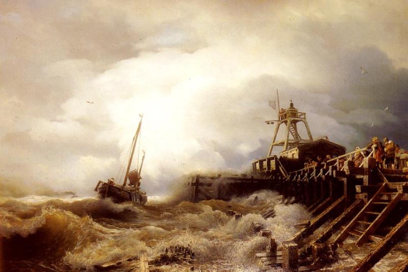 Andreas Achenbach. Fishing vessel