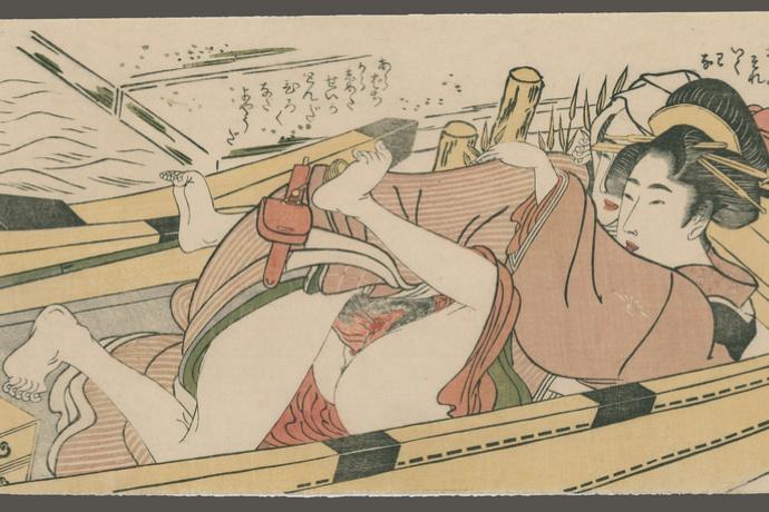 Kitagawa Utamaro. Lovers in a boat