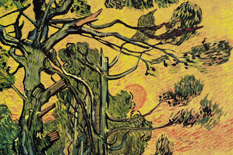 Vincent van Gogh. Pine trees against an orange sky with the setting sun