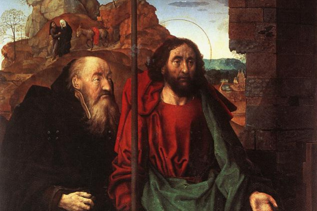 Hugo van der Gus. Saints Anthony and Thomas with Tommaso Portinari