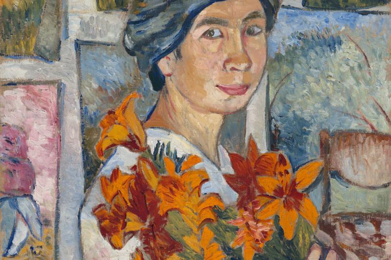Natalia Goncharova. Self-portrait with yellow lilies