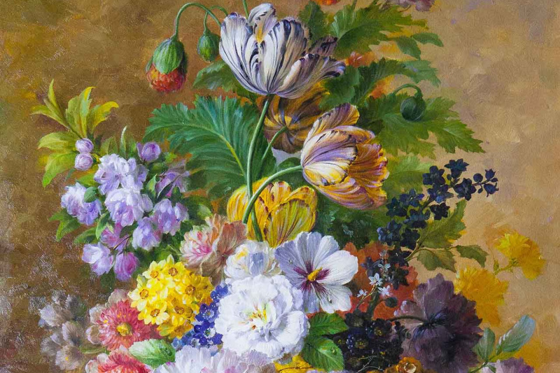Savely Kamsky. Bouquet with tulips in baroque style