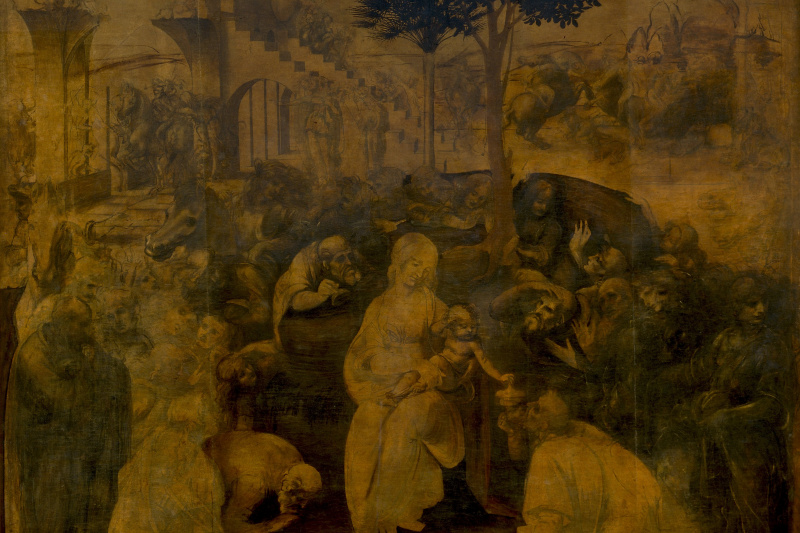 Leonardo da Vinci. The adoration of the Magi