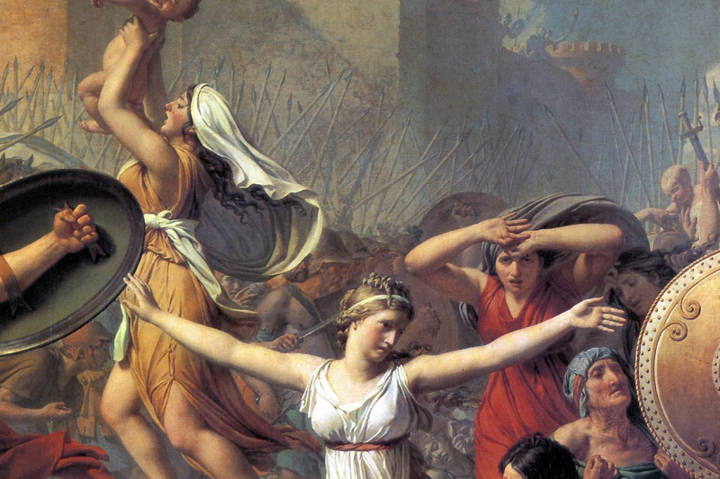 Jacques-Louis David. Sabine women stopping the battle between Romans and sabinyanami. Fragment II