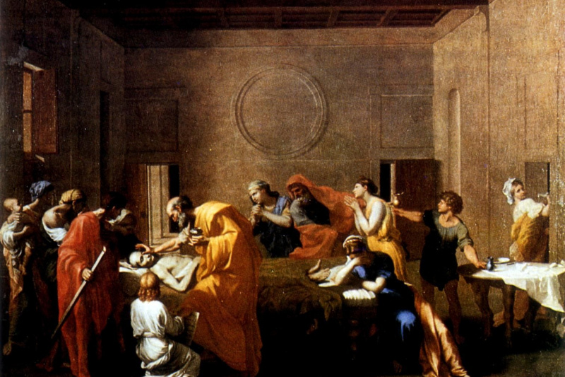 """Nicola Poussin. Extreme unction from the series """"Seven sacraments"""""""
