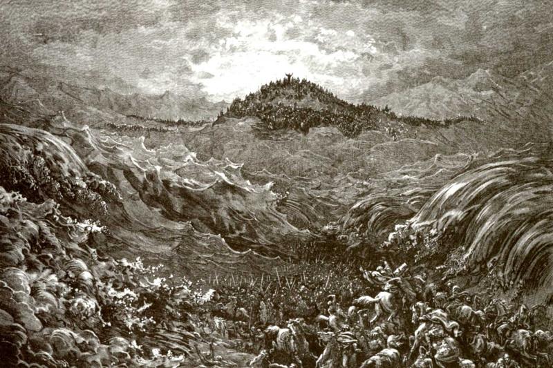 Поль Гюстав Доре. Иллюстрация к Библии: гибель египтян в Черном море