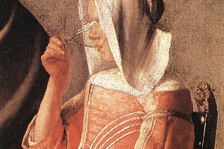Jan Vermeer. A glass of wine. Fragment