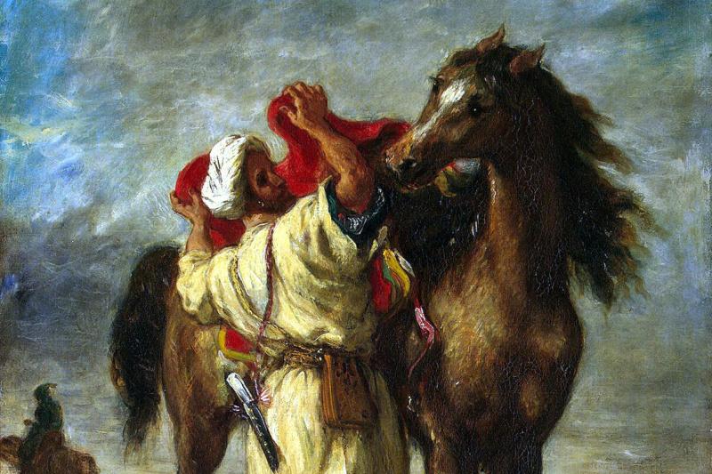 Eugene Delacroix. Moroccan, seglawi horse