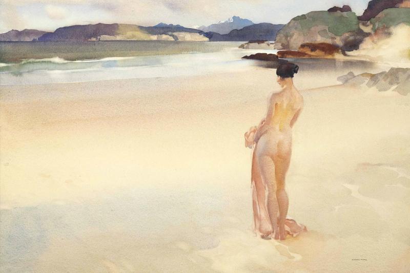 William Russell Flint 1880 - 1969 Scotland. Gruenard Bay, Wester Ross, Scotland.