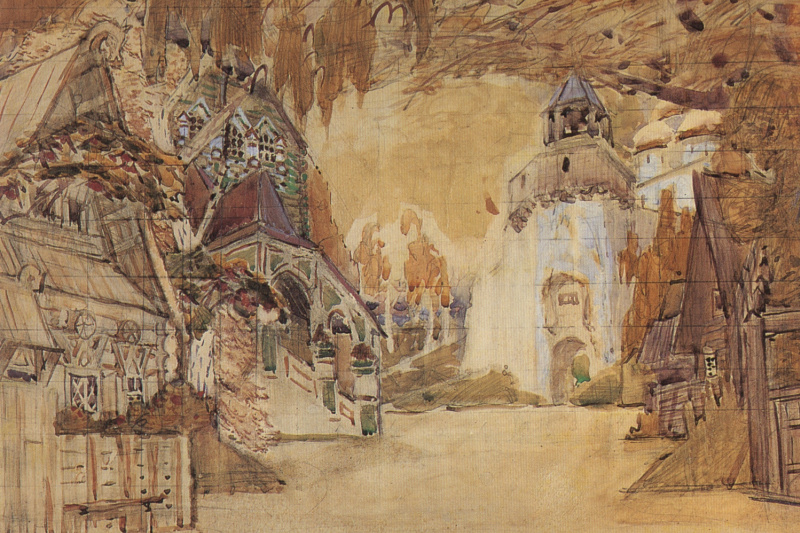 "Mikhail Vrubel. Aleksandrovskaya Sloboda. A sketch of the scenery for the Opera N.. Rimsky-Korsakov's ""the Tsar's bride"""