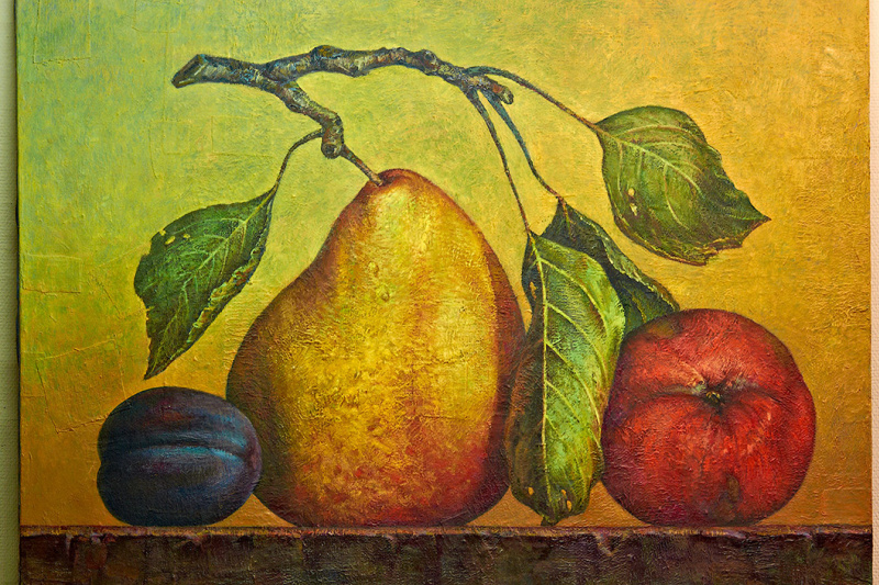 Sergey Bychkov. Fruit composition, pear, apple, plum