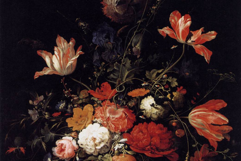 Abraham Mignon. A bouquet of flowers and a sprig of orange