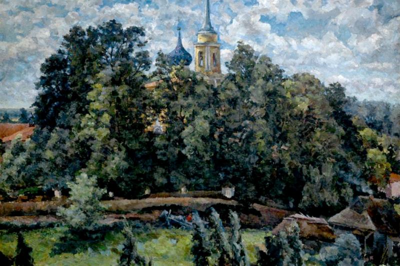 "Alexander Alexandrovich Osmyorkin. ""Sinichnaya Gora where the grave of A. S. Pushkin"" State Museum of A. S. Pushkin, Moscow."
