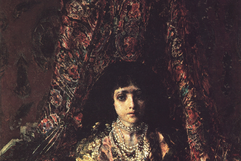 Mikhail Vrubel. Girl against a Persian carpet