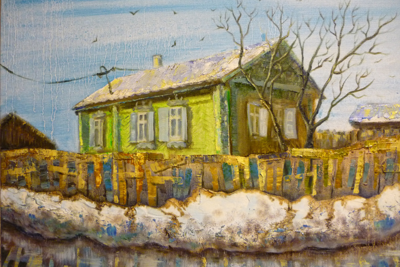 Anna Poletaeva. The house on the Motor.Novosibirsk. 2017. Oil on canvas, 40x50