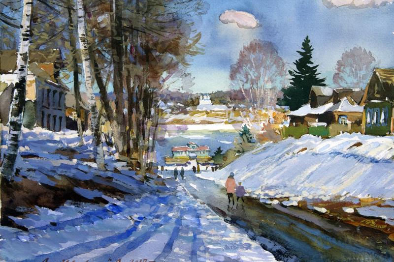 Александр Викторович Шевелёв. Spring in Tutaev. The descent to the Volga river. Paper, watercolor, white 27 x 37 cm 2017