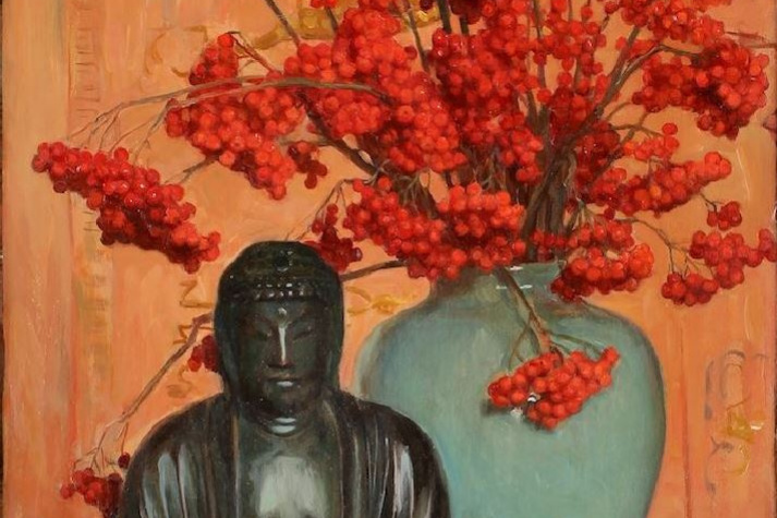 Oscar Gustav Bjork. Still life with Buddha statue and ash in a vase
