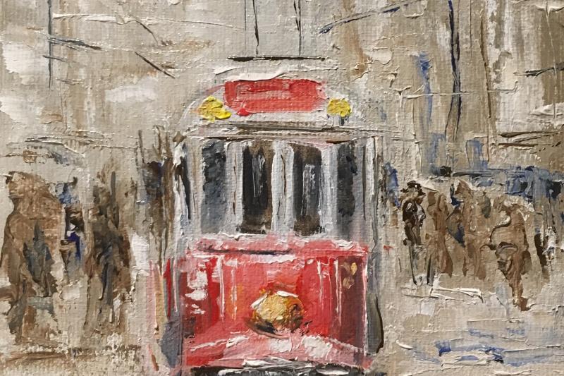 Vsevolod Chistyakov. A tram on a snowy street.