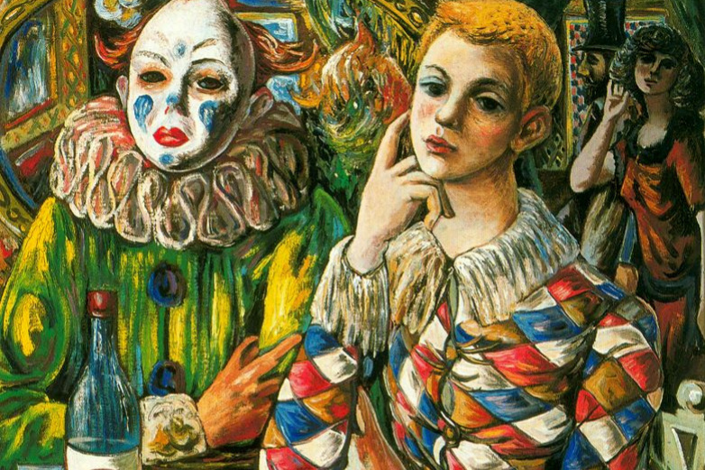 Rafael Sabaleta. Harlequin and clown with mask