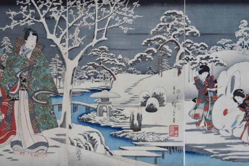 Утагава Хиросигэ. Триптих: Гэндзи и группа девушек с гигантским снежным кроликом