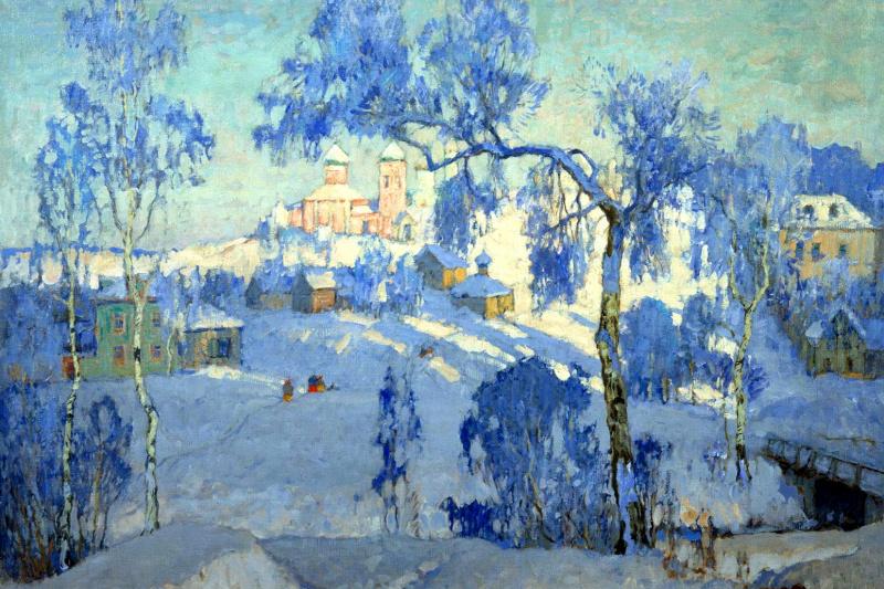 Konstantin Ivanovich Gorbatov. Winter landscape with Church
