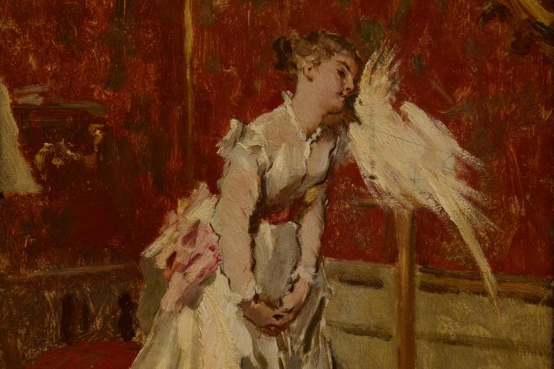 Густав Йонге. Дама с попугаем.