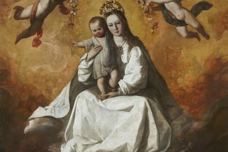 Francisco de Zurbaran. The virgin of mercy with two monks of Mercedarian