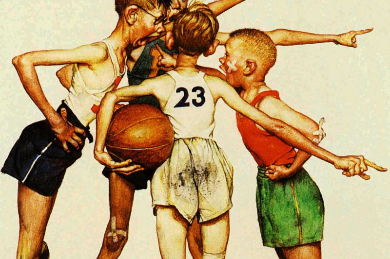Norman Rockwell. Four of the champion. Basketball