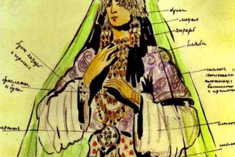 "Konstantin Korovin. Konchakovna. Costume design for the Opera ""Prince Igor"""