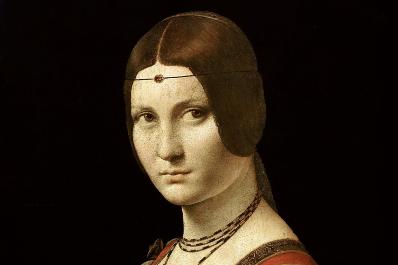 Leonardo da Vinci. Beautiful ferronera (Portrait of unknown)
